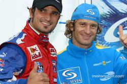 Jarno Trulli with F3000 driver Vitantonio Liuzzi