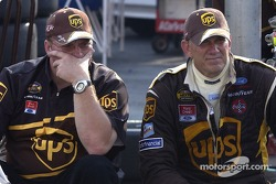 Dale Jarrett sits with crew chief Mike Ford