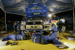 Subaru World Rally Team crew at work