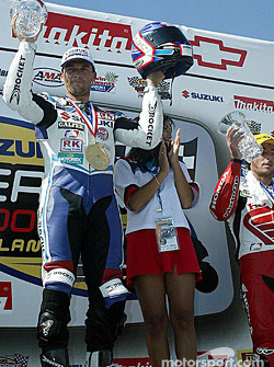 Podium: race winner Mat Mladin