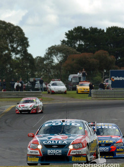 Russell Ingall leads team mater Marcos Ambrose during practice