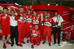 Victory celebrations, team Ferrari