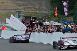 Race winner #88 Audi Sport UK Team Veloqx: Jamie Davies, Johnny Herbert ahead of #5 Team Goh: Seiji Ara, Rinaldo Capello