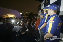 BAR-Honda event in Xin Tian Di: Jenson Button, Takuma Sato and Anthony Davidson