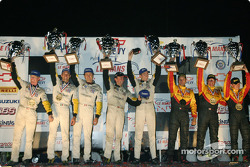 GTS podium: class winners Oliver Gavin, Olivier Beretta, Jan Magnussen, with Ron Fellows, Johnny O'Connell, Max Papis, and Tom Weickardt, Jean-Philippe Belloc, Fabio Babini