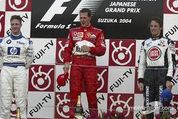 Podium : le vainqueur Michael Schumacher avec Ralf Schumacher et Jenson Button
