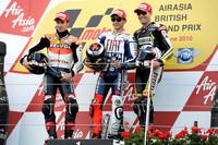 Podium: Sieger Jorge Lorenzo, 2. Andrea Dovizioso, 3. Ben Spies