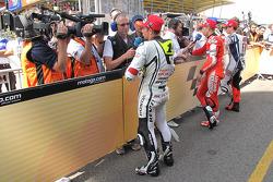 Pole winner Jorge Lorenzo, Fiat Yamaha Team, second place Randy De Puniet, LCR Honda MotoGP, third place Casey Stoner, Ducati Marlboro Team