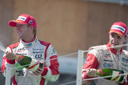 Sam Bird and Jules Bianchi celebrate on the podium