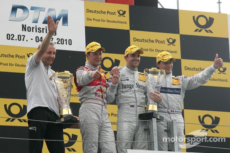 Podium: race winnaar Jamie Green, Persson Motorsport AMG Mercedes C-Klasse met Igmar Persson, Team Owner Persson Motorsport, 2de Mattias Ekström, Audi Sport Team Abt Audi A4 DTM, 3de Bruno Spengler, Team HWA AMG Mercedes C-Klasse