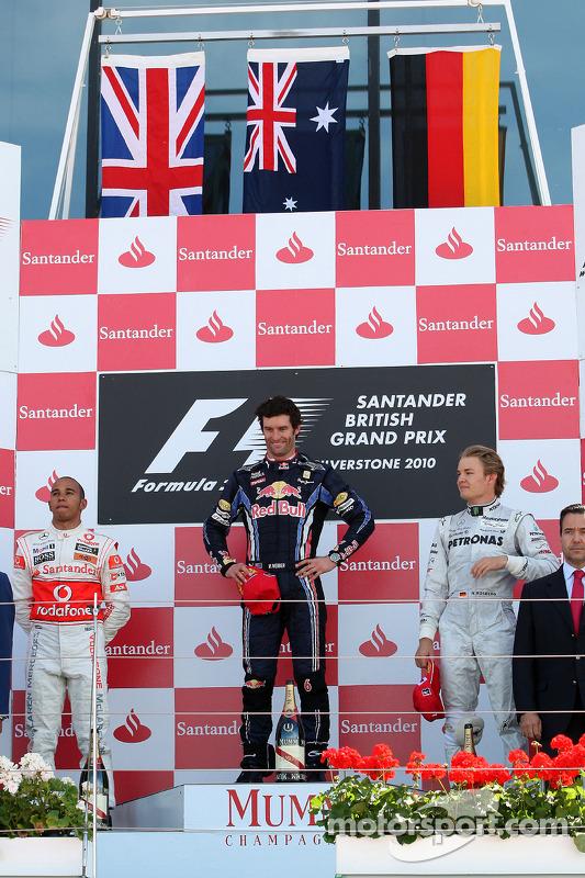 Podium: vainqueur Mark Webber, Red Bull Racing, 2e Lewis Hamilton, McLaren Mercedes, 3e Nico Rosber
