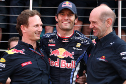 Red Bull Racing team celebrate race win for Mark Webber, Red Bull Racing, Mark Webber, Red Bull Racing, Christian Horner, Red Bull Racing, Sporting Director, Adrian Newey, Red Bull Racing, Technical Operations Director