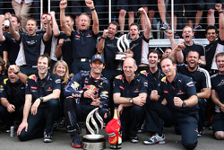 Red Bull team celebrate Mark Webbers win, Mark Webber, Red Bull Racing, Sebastian Vettel, Red Bull Racing
