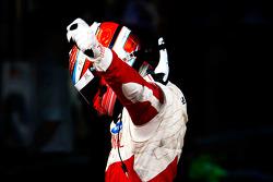 Daniel Morad celebrates victory in parc ferme