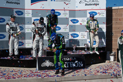 P class podium: class and overall winners David Brabham and Simon Pagenaud, second place Emanuele Pirro and Jonny Cocker, third place Greg Pickett and Klaus Graf