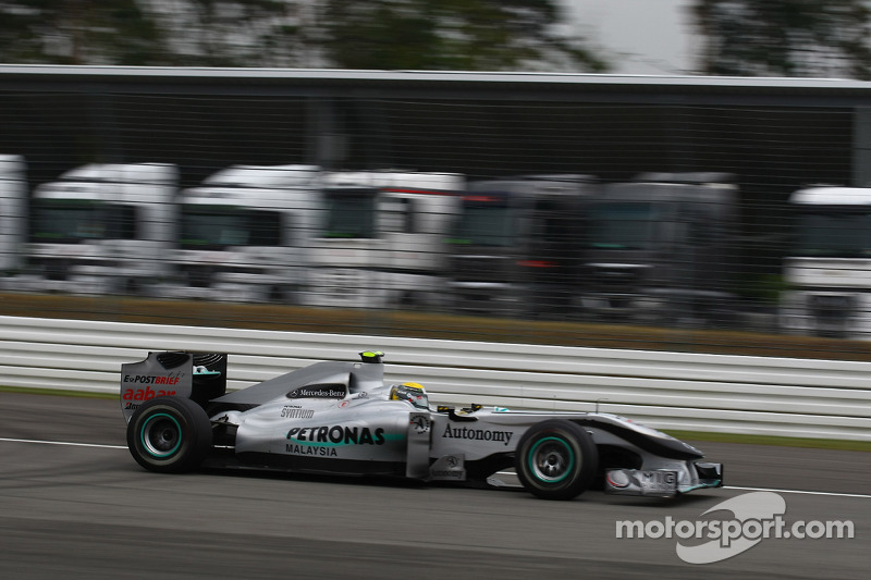 Nico Rosberg, Mercedes GP passing lorries that would normally be in the paddock