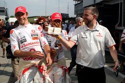 Jenson Button, McLaren Mercedes, Lewis Hamilton, McLaren Mercedes and some cake