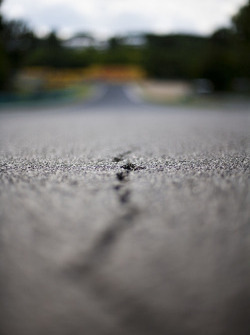A large crack in the tarmac on the circuit