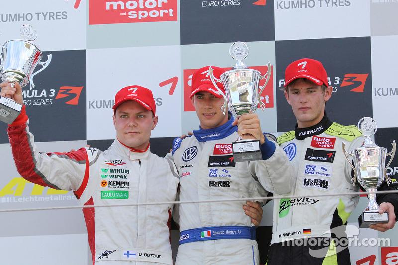 Podium: winnaar Edoardo Mortara, Signature Dallara F308 Volkswagen, 2de Valtteri Bottas, ART Grand P