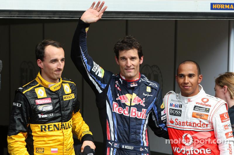Polepositie Mark Webber, Red Bull Racing, 2de Lewis Hamilton, McLaren Mercedes, 3de Robert Kubica, Renault F1 Team