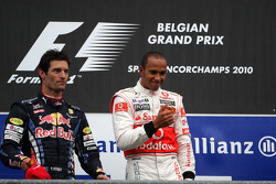 Podium: race winner Lewis Hamilton, second place Mark Webber