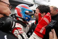Race winners Tomas Enge and Darren Turner celebrate