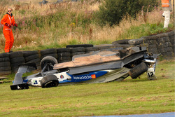 Fabio Gamberini crashes into a spectacular barrel roll