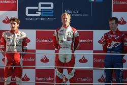 Podium: race winner Sam Bird, second place Jules Bianchi, third place Oliver Turvey