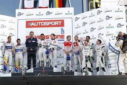 LMP podium: class and overall winners #1 Team Peugeot Total Peugeot 908 HDi-FAP: Anthony Davidson, Nicolas Minassian, second place #4 Team Oreca Matmut Peugeot 908 HDi FAP: Nicolas Lapierre, Stéphane Sarrazin, third place #7 Audi Sport Team Joest Audi R1