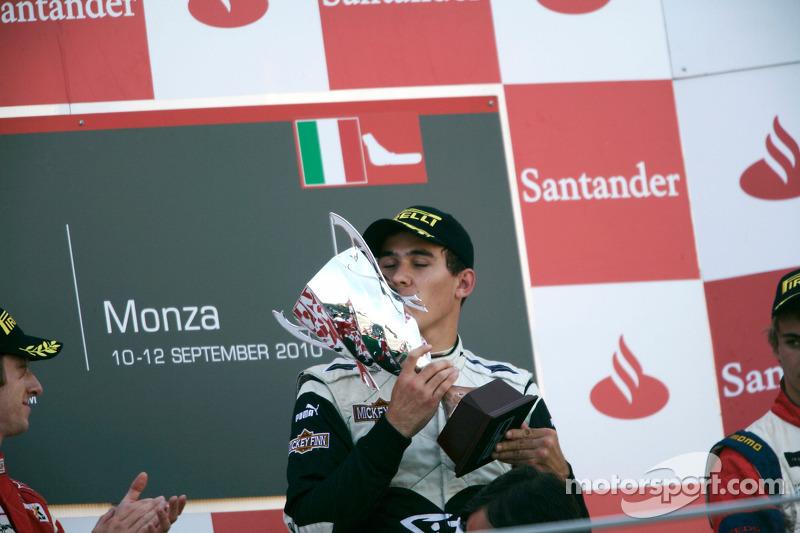 Robert Wickens celebrates victory on the podium