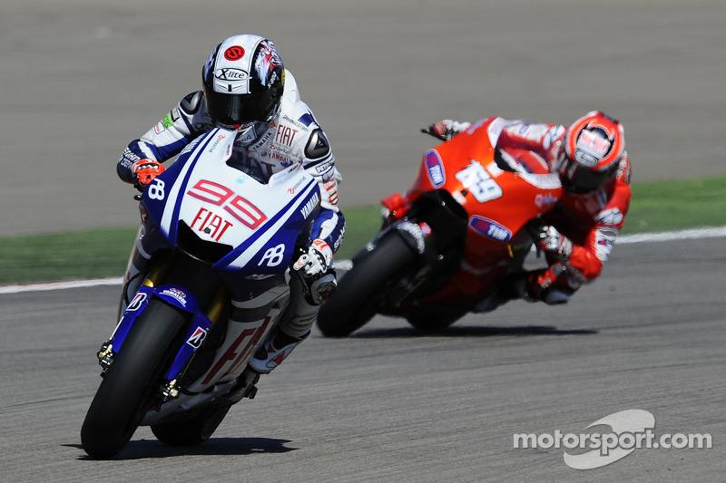 Lorenzo finalmente quedó 4º, por detrás de Hayden en Aragón 2010