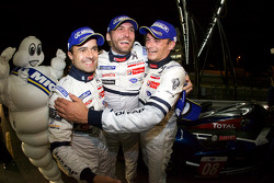Race winners Pedro Lamy, Franck Montagny and Stéphane Sarrazin celebrate
