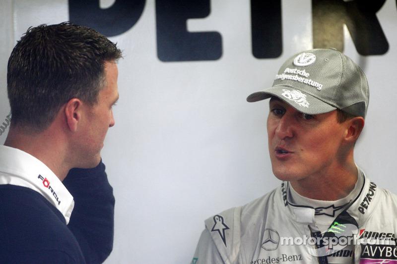 Ralf Schumacher met broer Michael Schumacher, Mercedes GP
