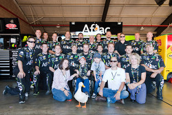 The Aflac 99 crew joined the Aflac Duck, Nolan Blake and Maddison Cox, patients from the Aflac Cancer Center, to celebrate the new Aflac Duck Wingman Bead of Courage given to children fighting cancer