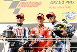 Podium: race winner Casey Stoner, Ducati Marlboro Team, second place Jorge Lorenzo, Fiat Yamaha Team, third place Valentino Rossi, Fiat Yamaha Team