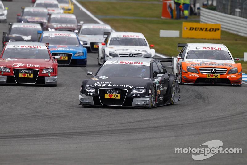Start: Timo Scheider, Audi Sport Team Abt Audi A4 DTM aan de leiding