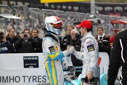 Race winner Daniel Juncadella, Prema Powerteam Dallara F308 Mercedes, second place Roberto Merhi, Muecke Motorsport Dallara F308 Mercedes