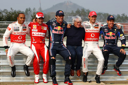 Lewis Hamilton, McLaren Mercedes, Fernando Alonso, Scuderia Ferrari, Mark Webber, Red Bull Racing, Bernie Ecclestone, Jenson Button, McLaren Mercedes and Sebastian Vettel, Red Bull Racing