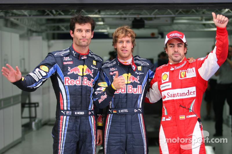 Polepositie Sebastian Vettel, Red Bull Racing, 2de Mark Webber, Red Bull Racing, 3de Fernando Alonso, Scuderia Ferrari