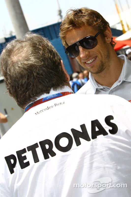 Norbert Haug, Mercedes, Motorsport chief en Jenson Button, McLaren Mercedes