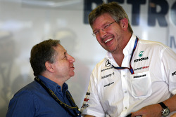 Jean Todt, FIA president, Ross Brawn Team Principal, Mercedes GP