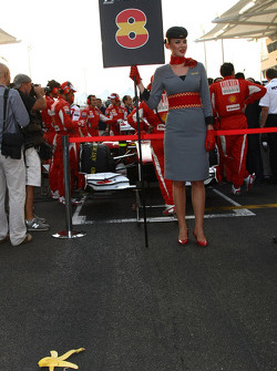 A Banana skin on the floor in front of Fernando Alonso, Scuderia Ferrari grid position