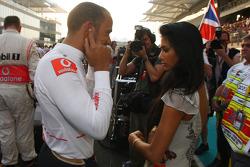 Lewis Hamilton, McLaren Mercedes with Nicole Scherzinger, Singer in the Pussycat Dolls and girlfriend of Lewis Hamilton