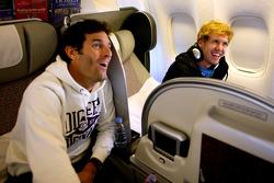 Mark Webber and Sebastian Vettel on their flight to Red Bull headquarters