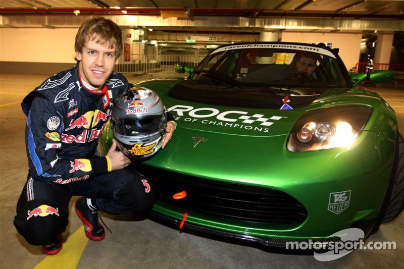 Sebastian Vettel with the Tesla