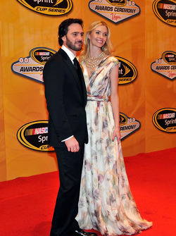 Five-time champion Jimmie Johnson and his wife Chandra arrive at the NASCAR Sprint Cup Series awards banquet at the Wynn Las Vegas Hotel