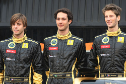 Jan Charouz, test driver, Lotus Renault GP, Bruno Senna, test driver, Lotus Renault and Romain Grosjean, Lotus Renault GP
