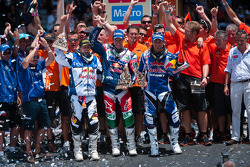 Podium: bike category winner Marc Coma, second place Cyril Despres, third place Helder Rodrigues