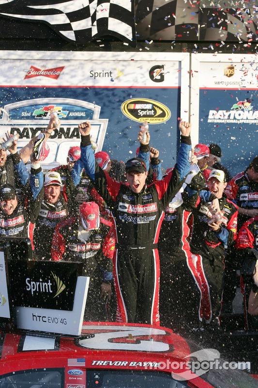 Victory lane: race winner Trevor Bayne, Wood Brothers Racing Ford celebrates