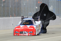 Johnny Gray deploys his parachutes aboard his Service Central Dodge Charger Funny Car